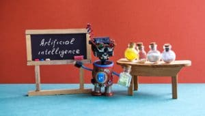 Artificial intelligence robotic automation education concept.